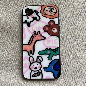 Accessories - Cute Animal Pattern Tempered Glass iPhone XR case